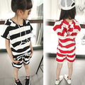 striped mother and daughter clothes sets black red sports suit tracksuits for girls clothing set tshirts tops and shorts set