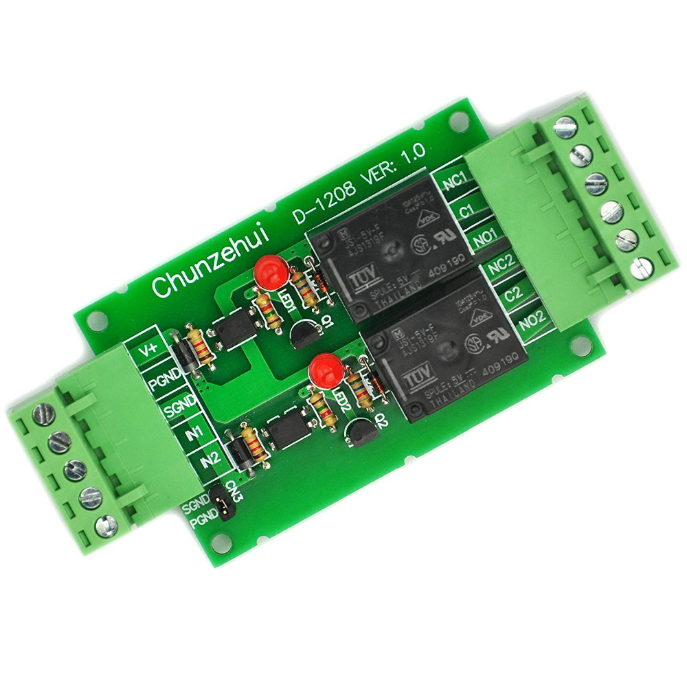 Electronics-Salon DC 5V Two Channel 10Amp Opto-Isolated Power Relay Module Board, Pluggable Terminal Block.