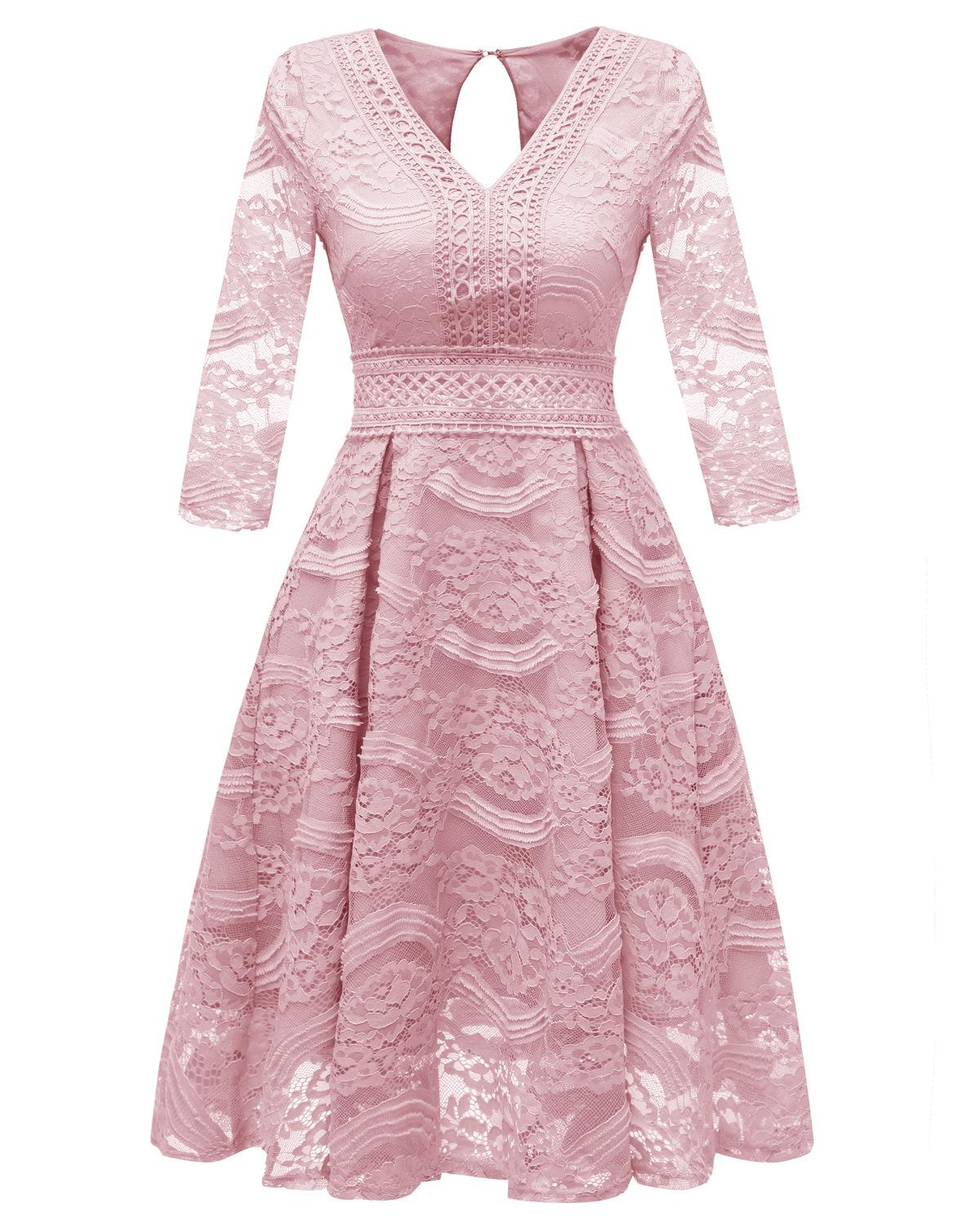 V-neck Pink Lace   Cocktail     Dresses   Robe Long Sleeves Backless elegant formal party   dress   2019 Short Vestidos Homecoming   Dress