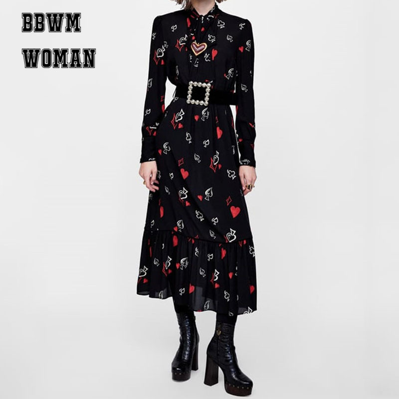 Lovely Heart Printed Women Dress 2018 New Fashion Autumn Bottoming Lapel Bowknot Dresses ZO1046