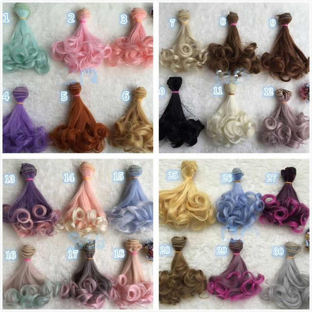 NEW Wholesale 30pcs/lot Colorful Rinka Curly Doll DIY Wigs For 1/3 1/4 BJD SD Wavy Handmade Dolls Wig Hair 15*100CM Girl Toys