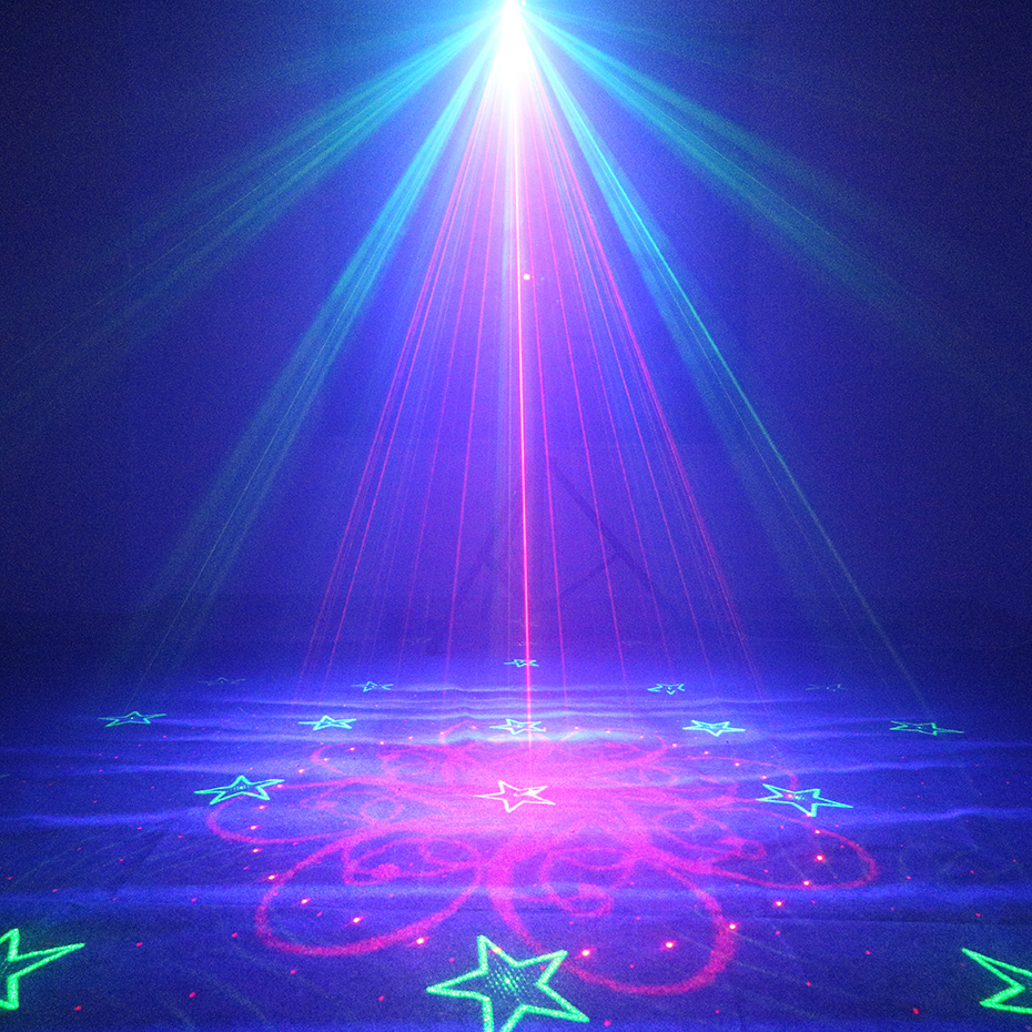 ALIEN 64 Patterns RG Remote Laser Stage Projector Lighting Effect DJ Disco Party Christmas Holiday With RGB LED Water Wave Light