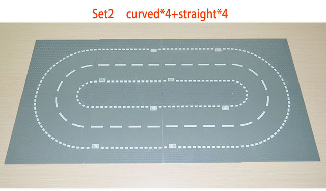 City Road Street Baseplate Straight Crossroad Curve T-Junction Building Blocks 7280 7281 Base Plate compatible City Blcok