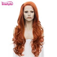 Imstyle 어 번 오렌지 가발 긴 물결 모양의 합성 레이스 프론트 가발 여성용 무료 부품 내열성 섬유 Glueless Ladies Wig