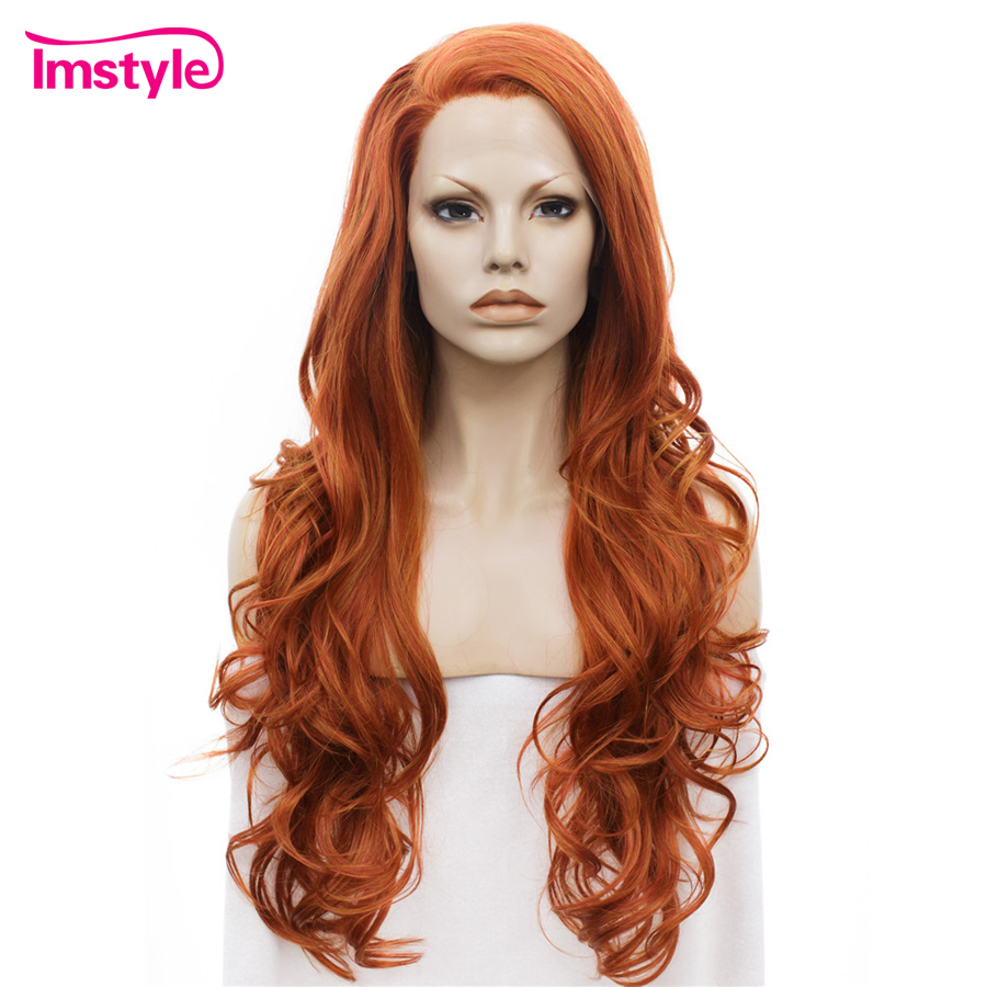 Imstyle Long Wavy Auburn Orange Color Wigs Synthetic Lace Front Wigs For Women Heat Resistant Fiber Glueless Ladies Cosplay Wig