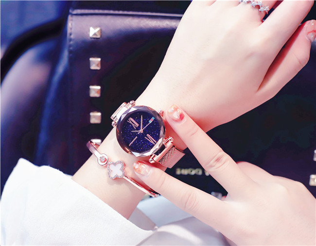 Charming Purple Women Watches Minimalism Casual Starry Sky Lady Wristwatch Magnet buckle Fashion Luxury Brand Female Watch Gift 7
