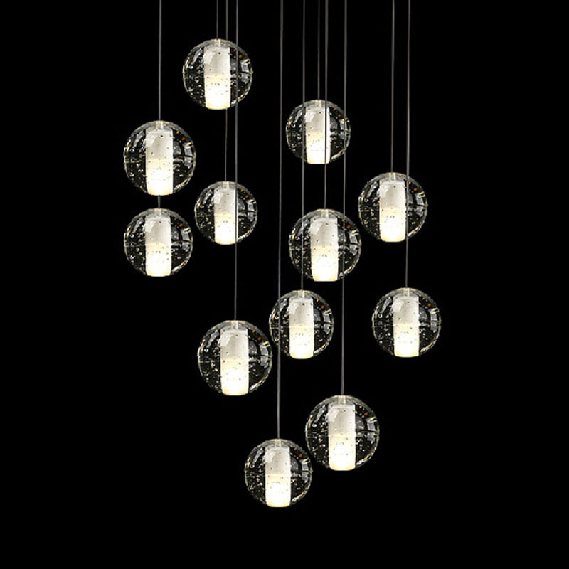 ФОТО ZX Modern LED Crystal Chandelier Magic Crystal Ball Hall Lamp Loft Stair G4 Light DIY Meteor Shower Lustre Pendant Lamp 90-260V