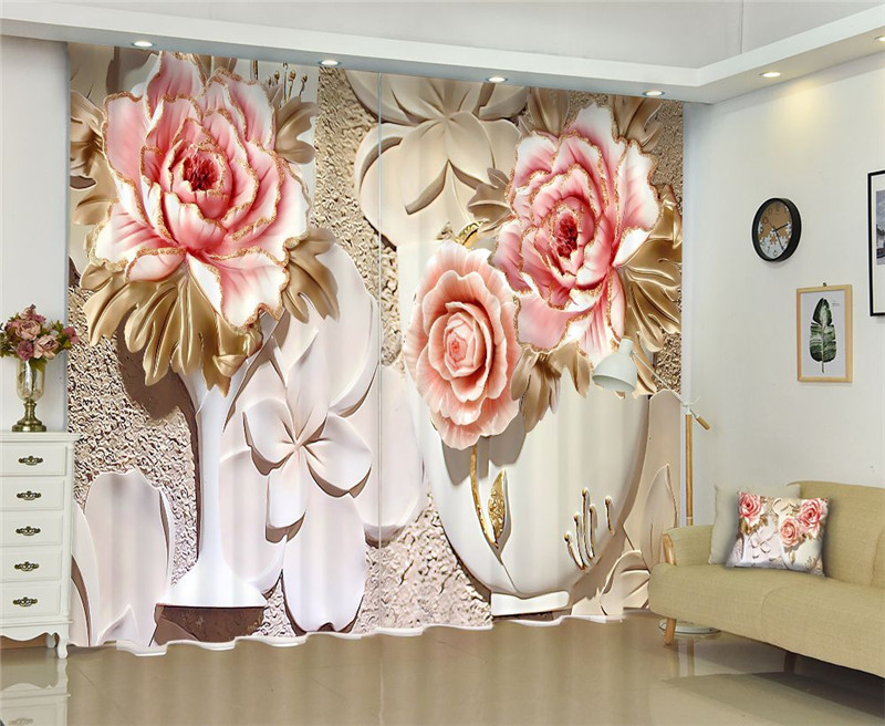 chinese door Curtain Luxury Blackout 3D Window Curtain Living Room wedding flower Cortina Drapes Rideaux Customized pillowcase