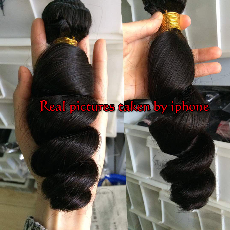 SATAI Hair Brazilian Loose Wave 3 Bundles With Closure Middle Part 100% Human Hair Bundles Natural Color Non-remy Hair Extension