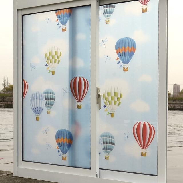 45x400cm Cartoon Hot Air Balloon/ Fish Sea World Pattern Self Adhesive Window  Film Bathroom