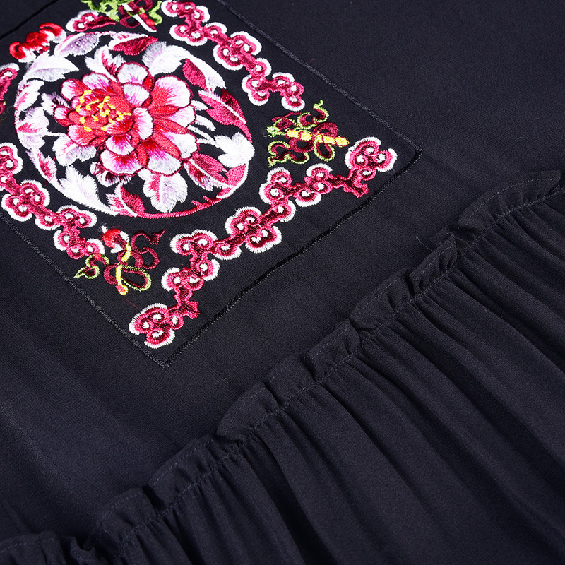 Robes Printemps Et De Lâche L12ht1303 Exquis Rétro Picture En D'été Robe As Noir Mousseline Broderie Femelle Soie 7P1OU