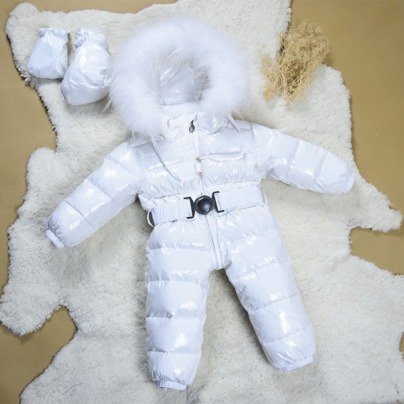 Winter Baby Clothes Newborn Duck Down Warm Romper Girls Snowsuit Infant Boy Coat Snow Wear Overalls White Black Feather Fur winter baby snowsuit baby boys girls rompers infant jumpsuit toddler hooded clothes thicken down coat outwear coverall snow wear