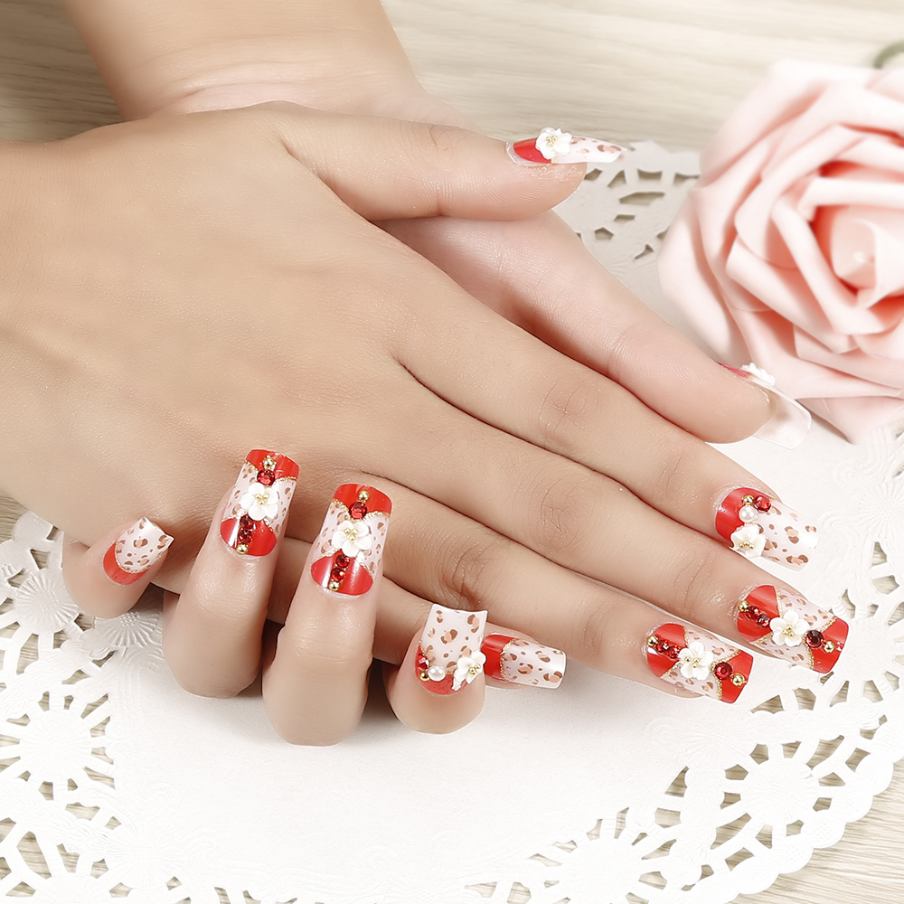 Wedding Party Fake Nails Red Flower Kuku Palsu Pernikahan 3d Jbs A60 Nikah False Nailart Elecool 24pcs Bride French Manicure