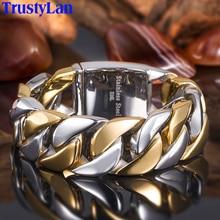 TrustyLan 23 مللي متر سلسلة سميكة واسعة الصلبة الذهبي الفولاذ المقاوم للصدأ الرجال سوار السائق مجوهرات الصداقة رجالي أساور 2018