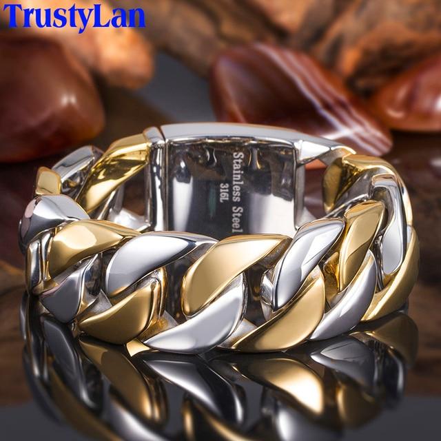 TrustyLan 23MM Wide Thick Chain Solid Golden Stainless Steel Men Bracelet Biker Jewelry Friendship Mens Bracelets & Bangles 2018