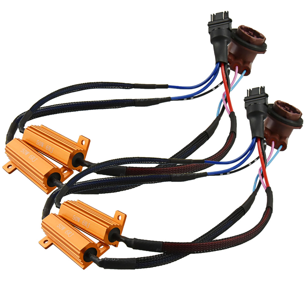 2x <font><b>T20</b></font> 1156 BA15S 1157 7440 7443 3156 3157 50W Car <font><b>LED</b></font> Turn Singal Load Resistor <font><b>Canbus</b></font> Error Free Wiring Canceller Decoder image