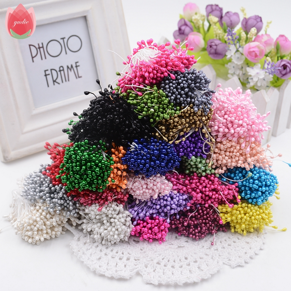 300pcs Mini Pearl Stamen Sugar Handmade Artificial Flower For Wedding Decoration DIY Scrapbooking Decorative Wreath Fake Flowers