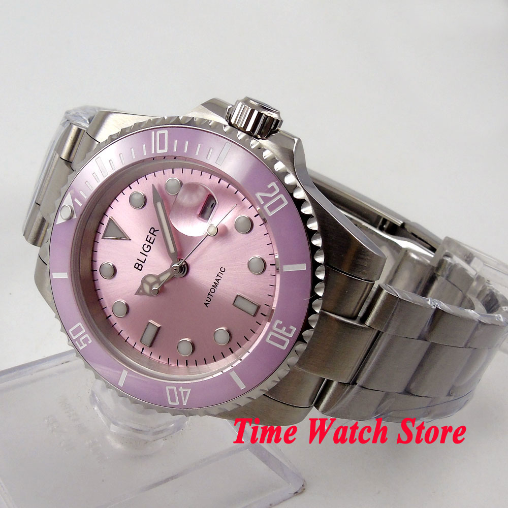 лучшая цена Unisex Bliger 40mm pink dial luminous saphire glass pink Ceramic Bezel Automatic movement wristwatch
