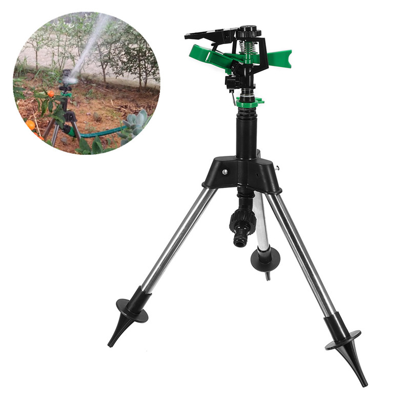 1Pc Stainless Steel Tripod Impulse Sprinkler Pulsating Grass Lawn Watering Irrigation Kits For Garden Watering Tool High Quality