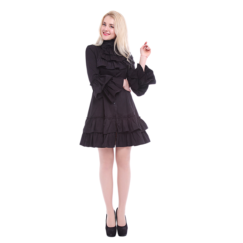 ROLECOS Gothic Lolita Dresses For Women Butterfly Sleeve Dress Ruffles Hem Cosplay Costumes Vintage Party Dress Black Friday