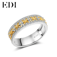 EDI Romantic Natural Real Diamond Butterfly Shape Ring For Women 14K White Yellow Gold Wedding Bands Jewelry