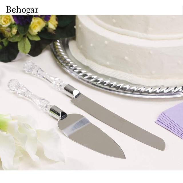 Behogar 2pc Stainless Steel Blades Acrylic Handle Wedding Cake Knife Cutter Server Set For Birthday