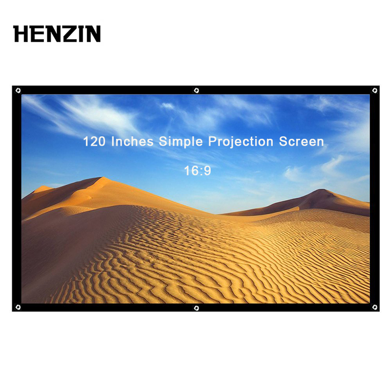 120 Inch 16:9 Portable Projector Screen Foldable Projection Screen Front & Rear For Home Theater & Outdoor Screen for Projector