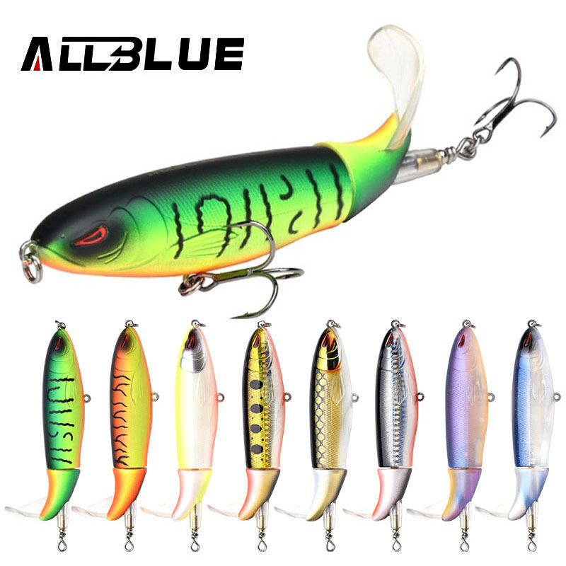 ALLBLUE Whopper Plopper 110mm 19g Top Water Popper Floating Fishing Lure Artificial Hard Bait Soft Rotating Tail Fishing Tackle hard pedal small mini water fishing