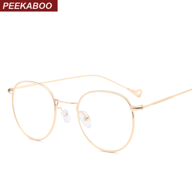 peekaboo gold thin metal frame glasses men optical clear lens vintage eye glasses frames for women - Womens Metal Eyeglass Frames