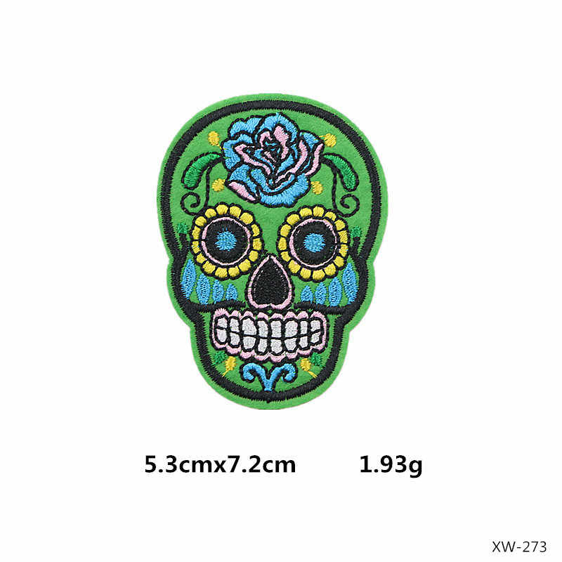 Nieuwe Suiker Schedel Patch Punk Hippie Indian Patch Biker Iron On Patches Op Kleding Stripesembroidered Patches Voor Kleding Badge