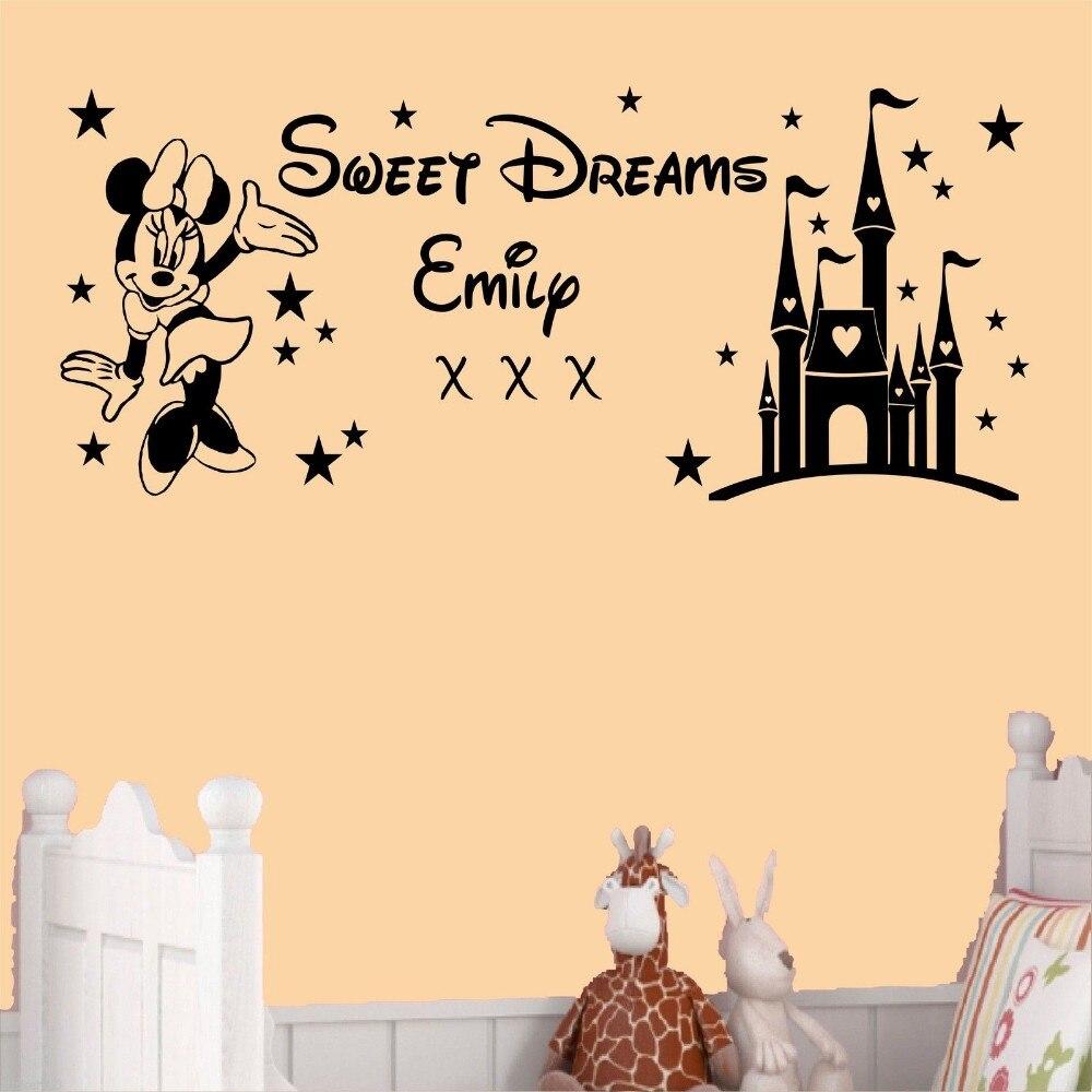 Free Shipping Custom Name Kids Decal Sweet Dreams Princess Castle ...