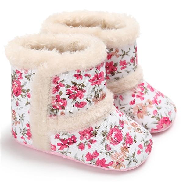 Pretty Baby Flower Girl Boots Wool Winter Bebe Shoes Coral Fleece Baby First Walker Anti-Slip 11-13CM Children Moccasin