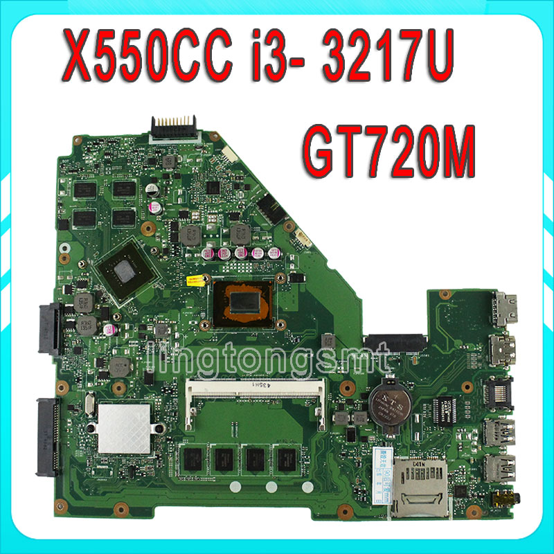 for ASUS X550CC R510CC DDR3 fit X550VB Laptop Motherboard GT720M 2GB I3 3217U CPU HM76 X550CC