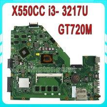 for ASUS X550CC R510CC DDR3 fit X550VB Laptop Motherboard GT720M 2GB I3 3217U CPU HM76 X550CC