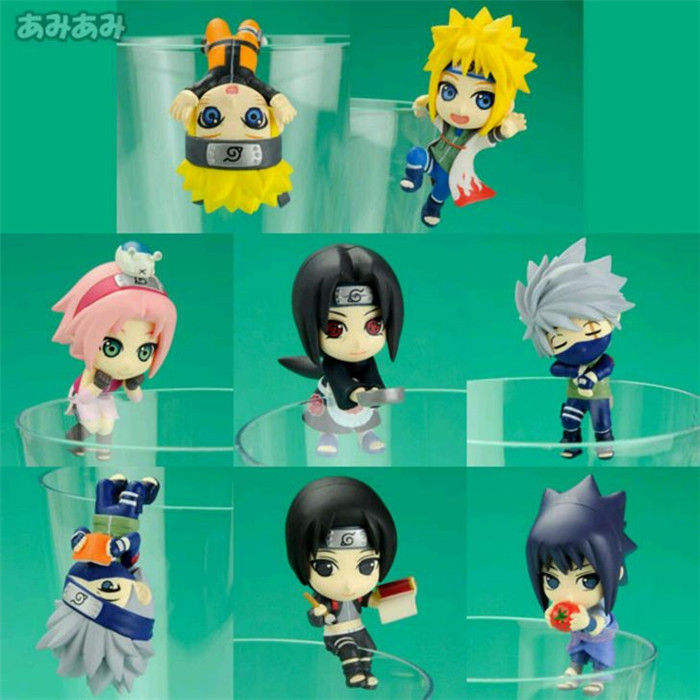><font><b>8pcs</b></font>/lot 4.5CM pvc <font><b>Japanese</b></font> anime figure Q version <font><b>kawaii</b></font> cute Naruto action figure collectible model toys brinquedos