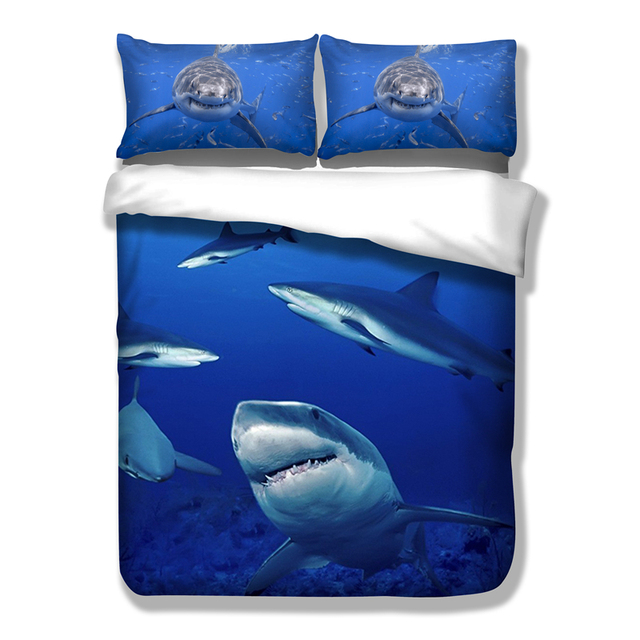 awesome grand requin animal ensemble de literie hd impression poissons marins housse de couette. Black Bedroom Furniture Sets. Home Design Ideas