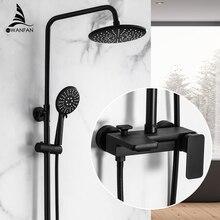 Grifos de ducha de latón orbe grifo de bañera de tubo redondo de un solo mango de ducha de lluvia superior con barra deslizante grifo mezclador de agua de pared 877825R
