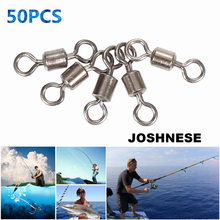 JOSHNESE Brand 50PCS High Quality Ball Bearing Rolling Swivel Solid Rings Fishing Hook Connector Outdoor Fishing Hooks