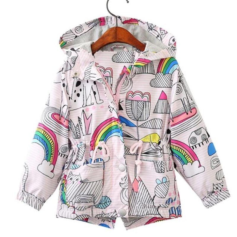 LILIGIRL Baby Unicorn Long-Jackets Windbreaker for Girls Rainbow Printing Cardigan Coats Kids Hooded Graffiti Jackst Clothes