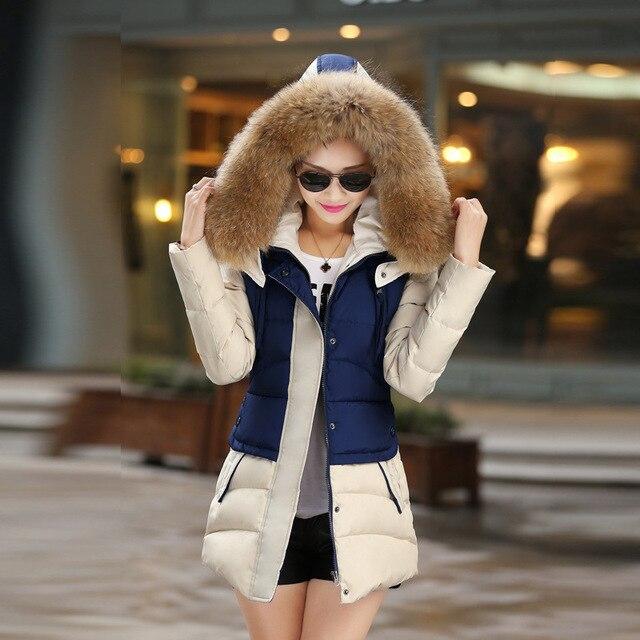 2016 Na Venda Quente grossa Para Baixo Senhoras Jaqueta de Inverno Casaco mulheres Plus Size Gola De Pele Com Capuz Jaquetas de ong de Neve Pena casacos