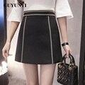 2017 Señoras Del Resorte Falda Falda de Cintura Alta Bodycon Faldas Cortas Para Mujer Estilo de Inglaterra de Alta Calidad Falda de la Cremallera de Split D027