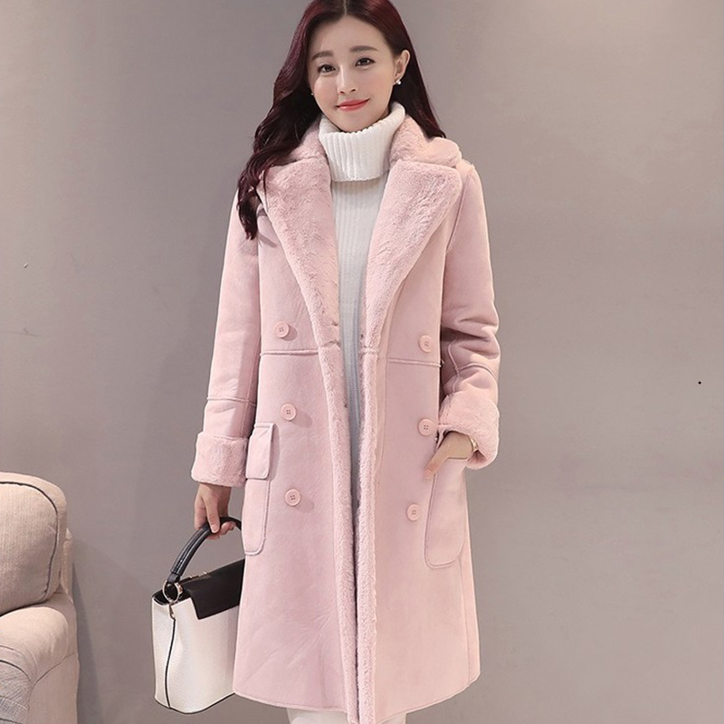Winter Pink Suede Faux Fur Women's Long Parka Coat Thicken Warm Soft Turn Down Collar Double Breasted Jacket Female Overcoat