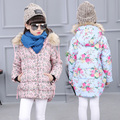 2017 High quality Winter Girls Warm Coat Baby Long Sleeve Outerwear Baby Clothes Flower Cotton Jacket Children Coat