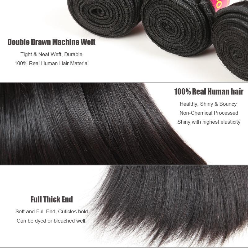 Brasilian Straight Hair Weave 1/3/4 Pcs Natural Black Remy Hair - Mänskligt hår (svart) - Foto 3