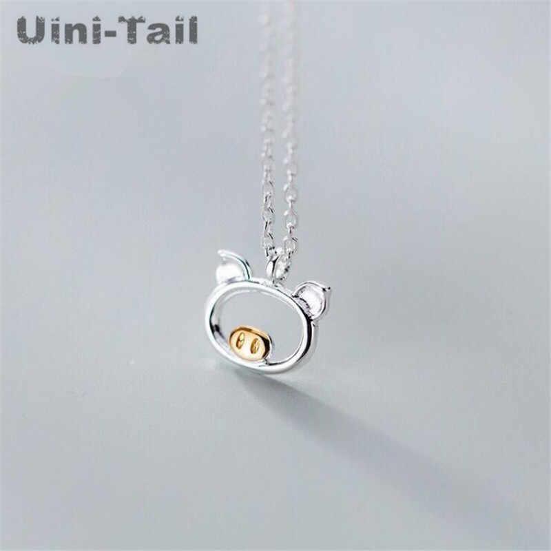 Uini-Tail hot new 925 sterling silver bonito do porco colar Coreano moda simples fluxo de maré pequeno animal jóias de alta qualidade ED331