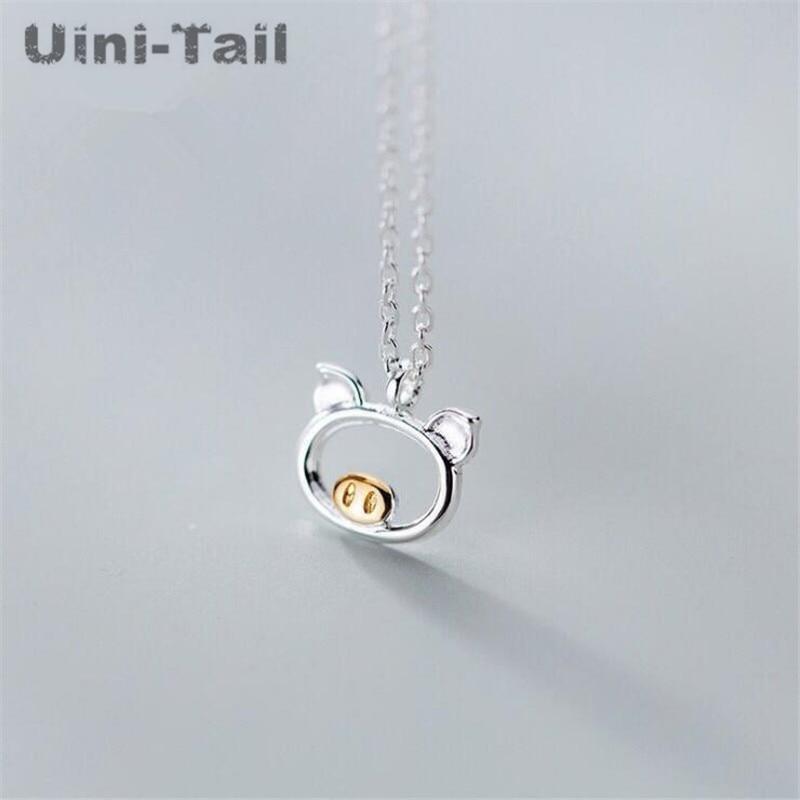 Uini-Tail, хит, новинка, Стерлинговое Серебро 925 пробы, милая цепочка со Свинкой, Корейская, простая, модная, поток, маленькие животные, ювелирные ...