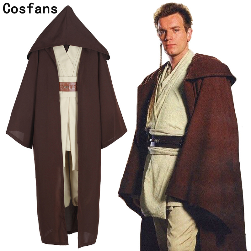 COSFANS Nouvelle Star Wars Jedi Knight Anakin Cosplay Costume Sur Mesure Hommes Femmes Taille, top + Pantalon + Manteau + bretelles + ceinture ensembles
