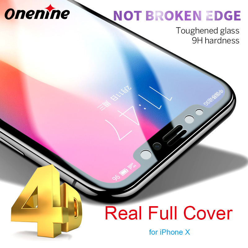 Onenine 4D резьба 3D изогнутые 9 H Экран протектор для iPhone X 10 закаленное Стекло полное покрытие взрывозащищенный Ультра тонкий гвардии пленка