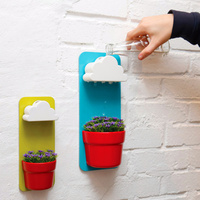 High Quality Plastic Rainy Wall Hung Flower Pot Set With A Cloud Shaped Water Filter Pot
