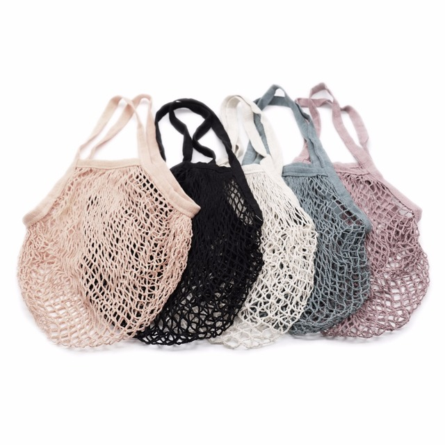 Reusable String Shopping Grocery Bag Fruit Vegetables Shopper Tote Mesh Net Woven Cotton Bag Hand Totes Home Storage Bags